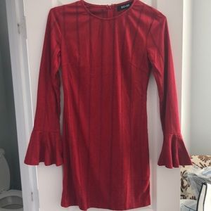 Red long sleeve dress with Flair sleeve.